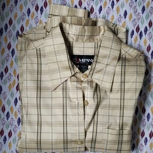 ELLEN TRACY silk classic plaid button-down blouse
